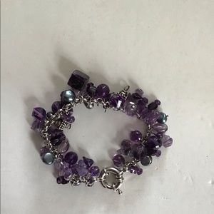 Amethyst/pearl/beads bracelet